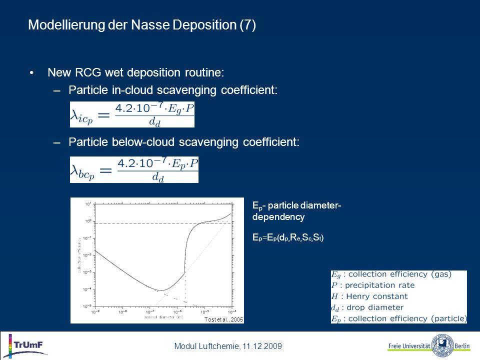 Modul Luftchemie, 11.12.2009 New RCG wet deposition routine: –Particle in-cloud scavenging coefficient: –Particle below-cloud scavenging coefficient: