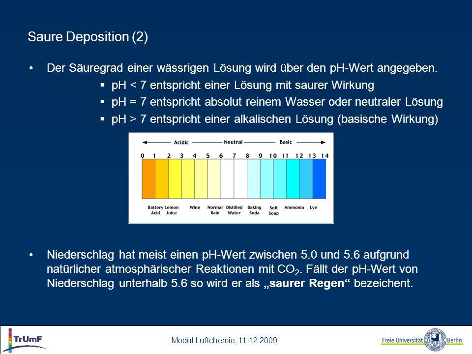 Modul Luftchemie, 11.12.2009 Saure Deposition (2) Der Säuregrad einer wässrigen Lösung wird über den pH-Wert angegeben. pH < 7 entspricht einer Lösung