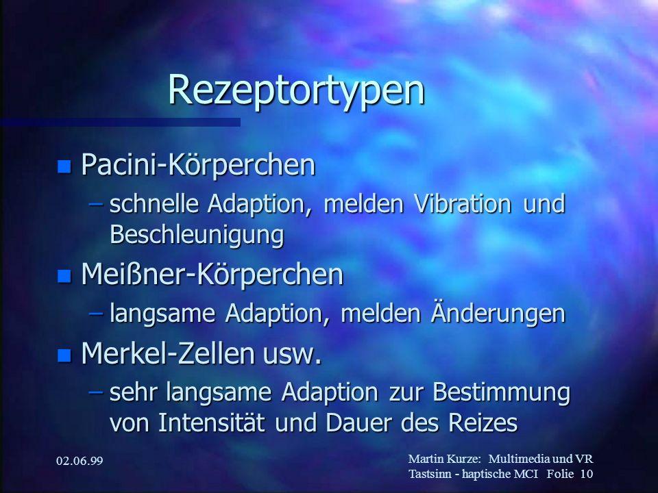 Martin Kurze:Multimedia und VR Tastsinn - haptische MCI Folie 10 02.06.99 Rezeptortypen n Pacini-Körperchen –schnelle Adaption, melden Vibration und B