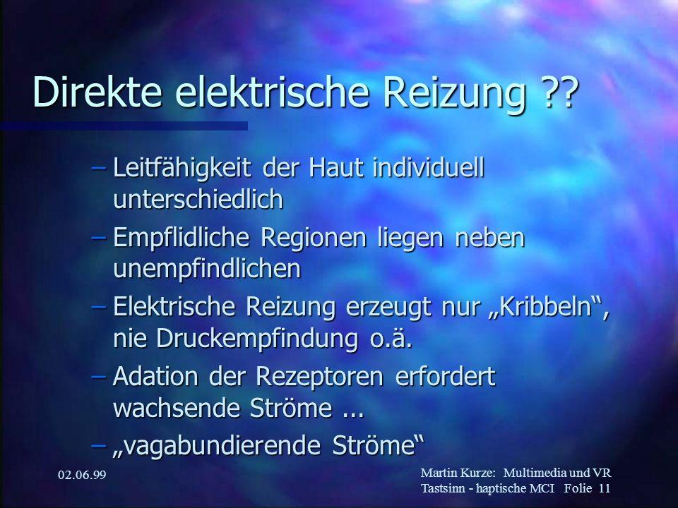 Martin Kurze:Multimedia und VR Tastsinn - haptische MCI Folie 11 02.06.99 Direkte elektrische Reizung ?? –Leitfähigkeit der Haut individuell unterschi