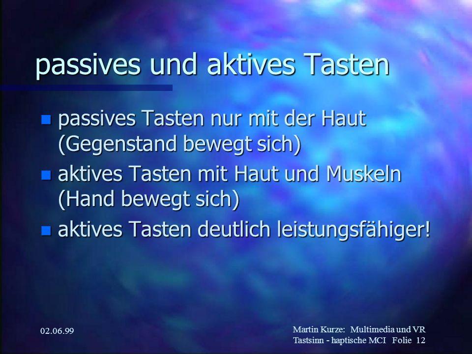 Martin Kurze:Multimedia und VR Tastsinn - haptische MCI Folie 12 02.06.99 passives und aktives Tasten n passives Tasten nur mit der Haut (Gegenstand b
