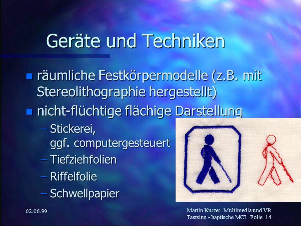 Martin Kurze:Multimedia und VR Tastsinn - haptische MCI Folie 14 02.06.99 Geräte und Techniken n räumliche Festkörpermodelle (z.B. mit Stereolithograp