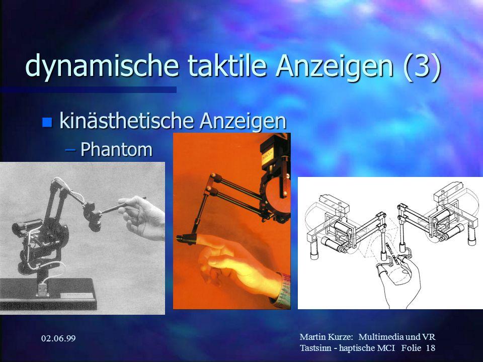 Martin Kurze:Multimedia und VR Tastsinn - haptische MCI Folie 18 02.06.99 dynamische taktile Anzeigen (3) n kinästhetische Anzeigen –Phantom