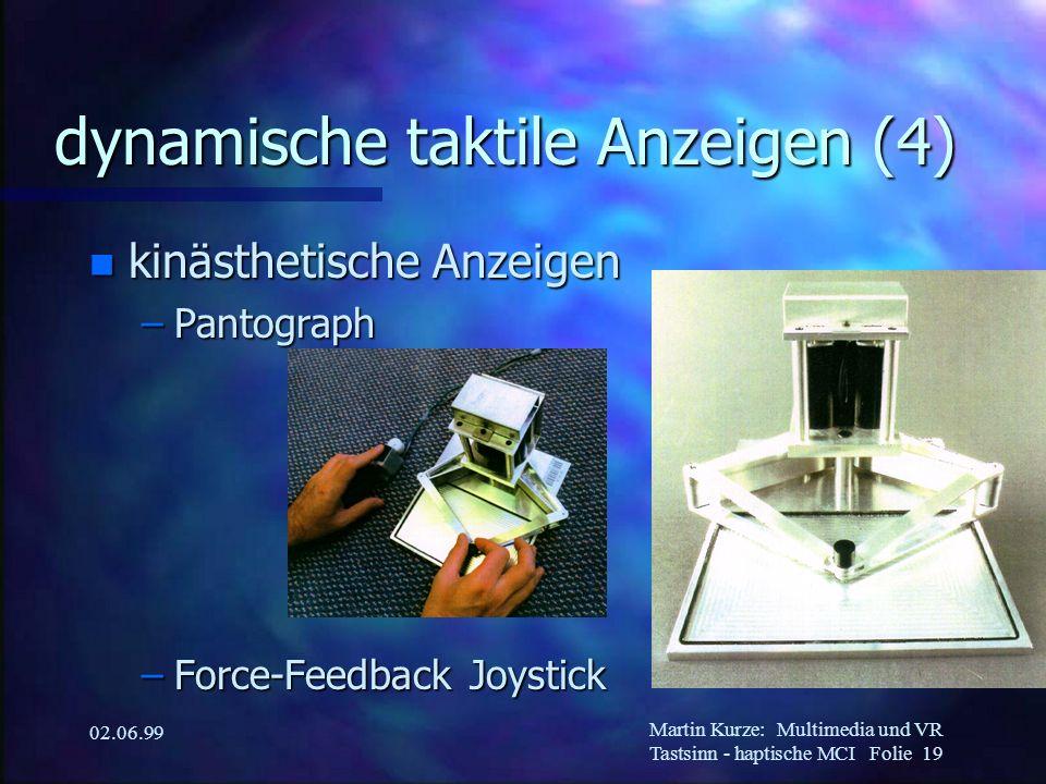 Martin Kurze:Multimedia und VR Tastsinn - haptische MCI Folie 19 02.06.99 dynamische taktile Anzeigen (4) n kinästhetische Anzeigen –Pantograph –Force