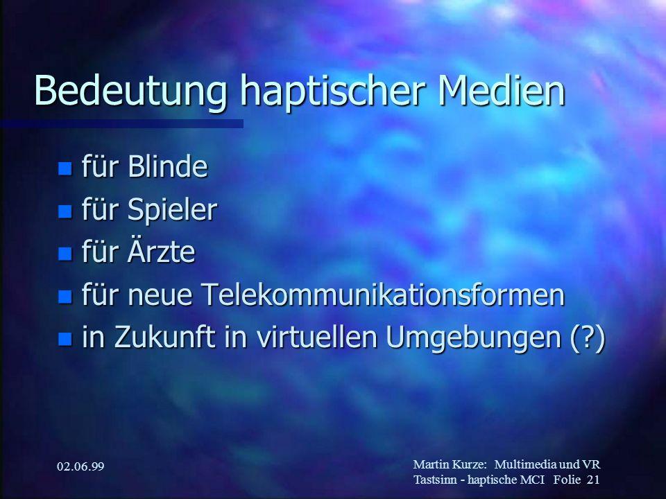 Martin Kurze:Multimedia und VR Tastsinn - haptische MCI Folie 21 02.06.99 Bedeutung haptischer Medien n für Blinde n für Spieler n für Ärzte n für neu