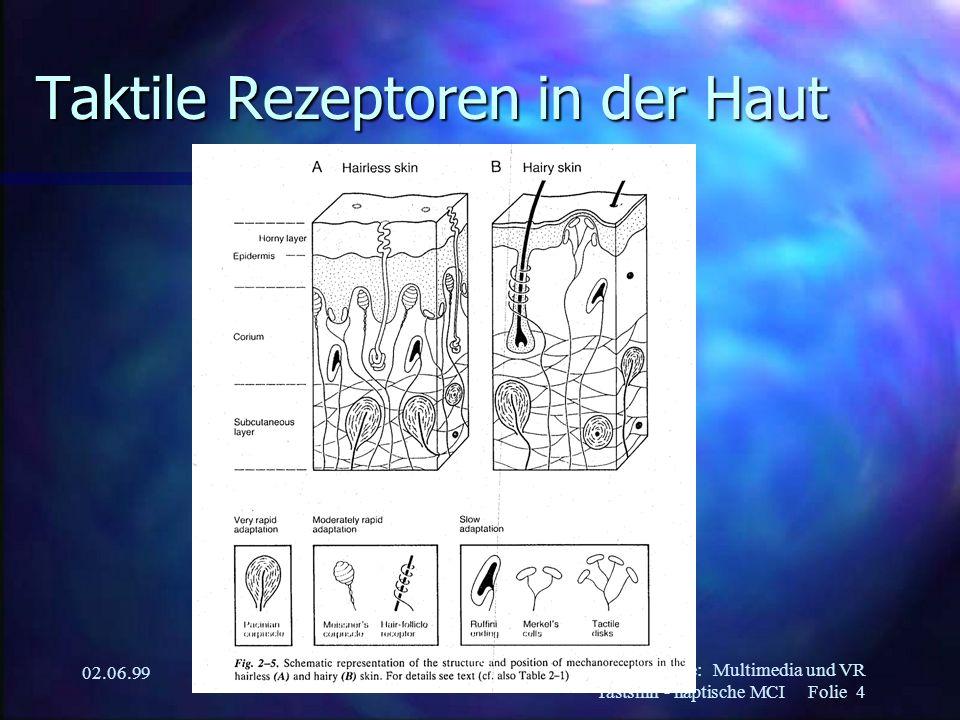 Martin Kurze:Multimedia und VR Tastsinn - haptische MCI Folie 5 02.06.99 Propriozeption n Wahrnehmung des eigenen Körpers –Knochen –Muskeln –Nerven –Innereien