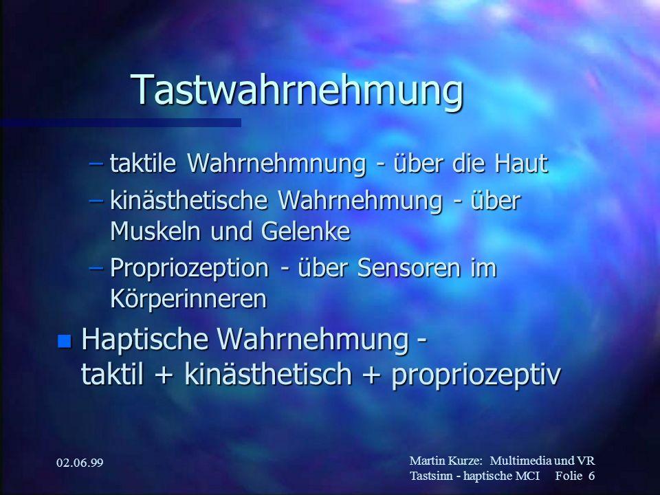 Martin Kurze:Multimedia und VR Tastsinn - haptische MCI Folie 6 02.06.99 Tastwahrnehmung –taktile Wahrnehmnung - über die Haut –kinästhetische Wahrneh