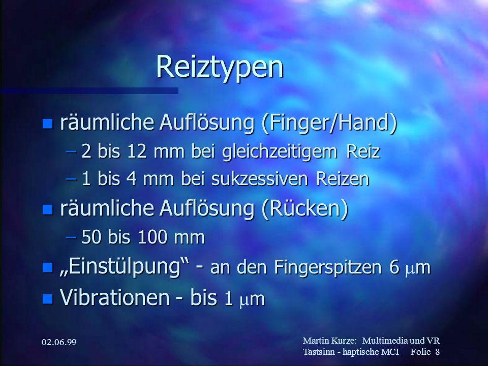 Martin Kurze:Multimedia und VR Tastsinn - haptische MCI Folie 8 02.06.99 Reiztypen n räumliche Auflösung (Finger/Hand) –2 bis 12 mm bei gleichzeitigem