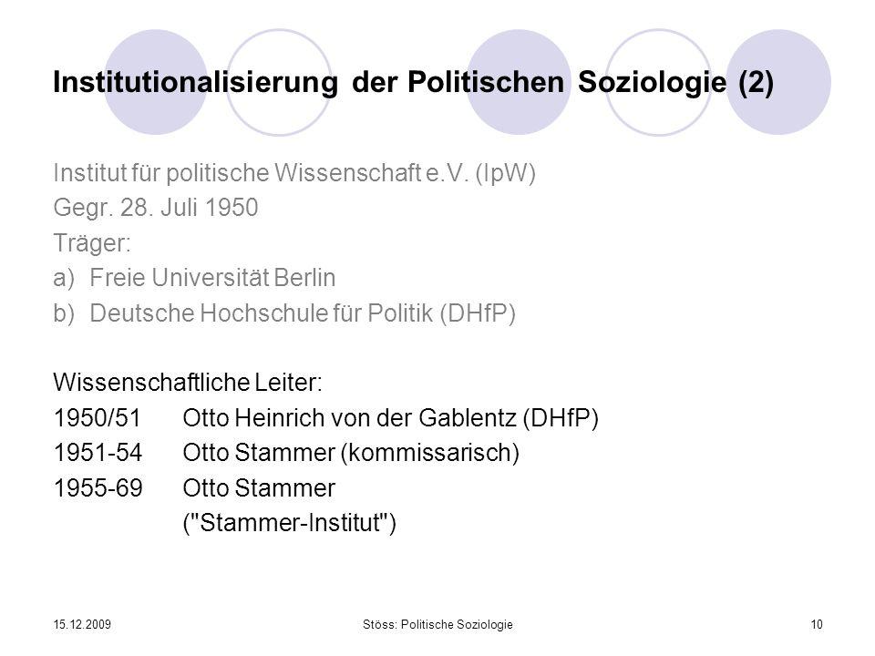 15.12.2009Stöss: Politische Soziologie10 Institutionalisierung der Politischen Soziologie (2) Institut für politische Wissenschaft e.V. (IpW) Gegr. 28