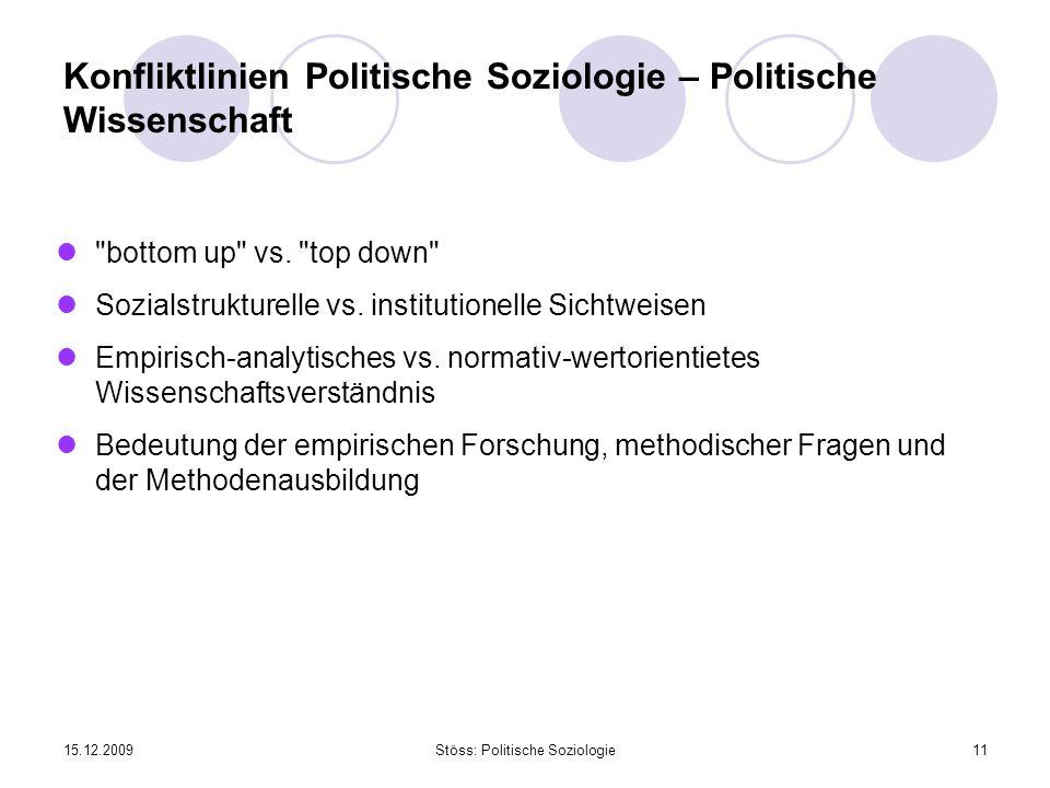 15.12.2009Stöss: Politische Soziologie11 Konfliktlinien Politische Soziologie – Politische Wissenschaft bottom up vs.