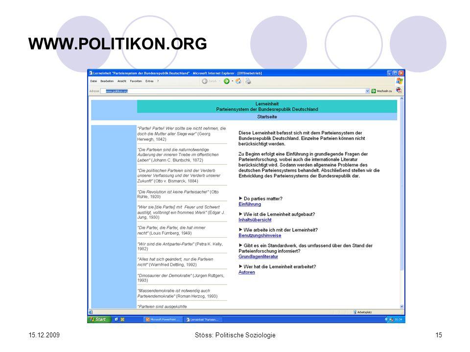 15.12.2009Stöss: Politische Soziologie15 WWW.POLITIKON.ORG