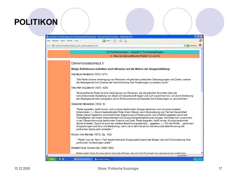 15.12.2009Stöss: Politische Soziologie17 POLITIKON