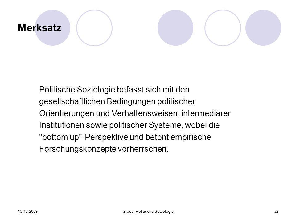 15.12.2009Stöss: Politische Soziologie32 Merksatz Politische Soziologie befasst sich mit den gesellschaftlichen Bedingungen politischer Orientierungen und Verhaltensweisen, intermediärer Institutionen sowie politischer Systeme, wobei die bottom up -Perspektive und betont empirische Forschungskonzepte vorherrschen.