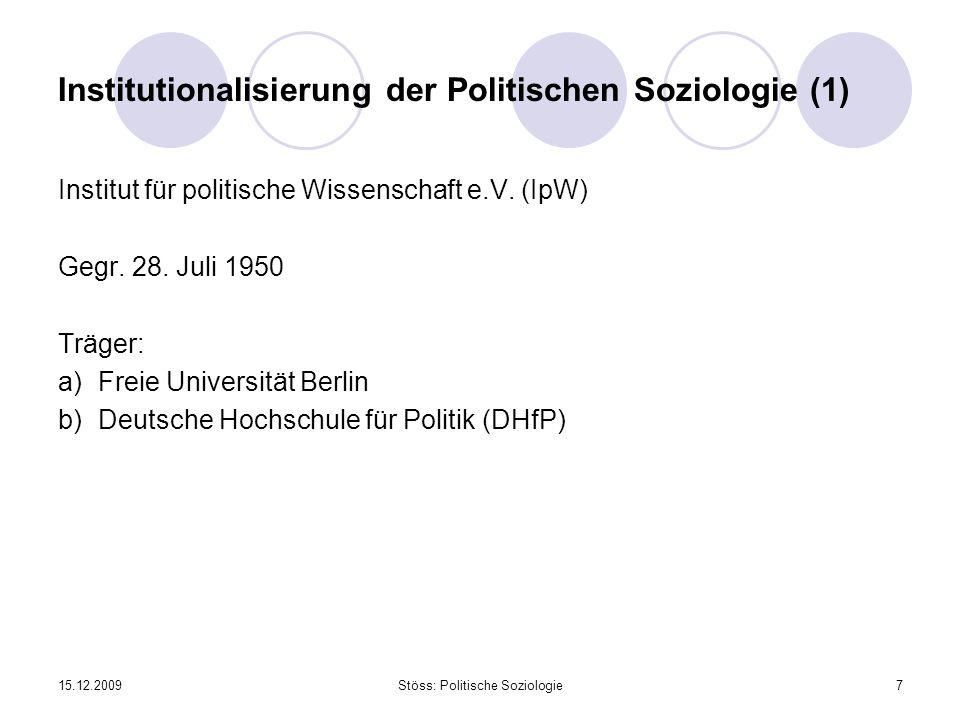 15.12.2009Stöss: Politische Soziologie7 Institutionalisierung der Politischen Soziologie (1) Institut für politische Wissenschaft e.V. (IpW) Gegr. 28.