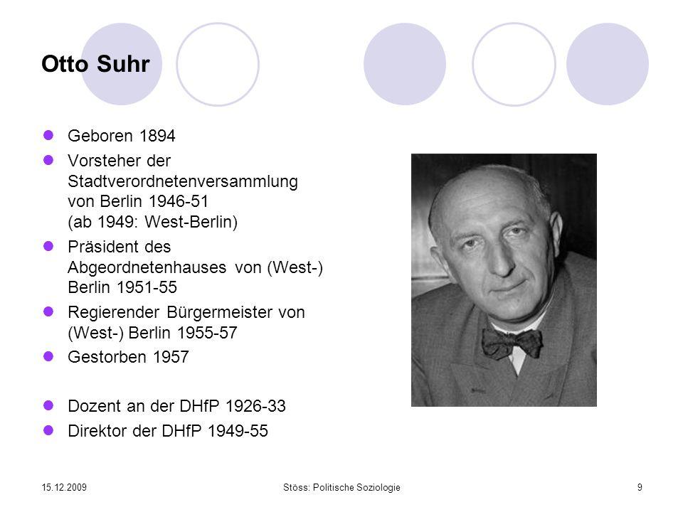 15.12.2009Stöss: Politische Soziologie9 Otto Suhr Geboren 1894 Vorsteher der Stadtverordnetenversammlung von Berlin 1946-51 (ab 1949: West-Berlin) Prä