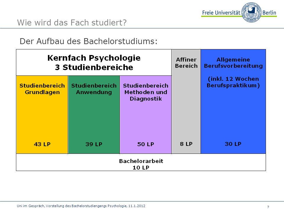 7 Uni im Gespräch, Vorstellung des Bachelorstudiengangs Psychologie, 11.1.2012 Wie wird das Fach studiert? Der Aufbau des Bachelorstudiums: