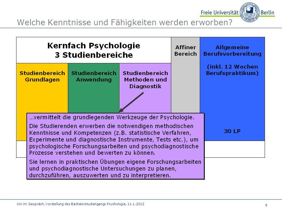 9 Uni im Gespräch, Vorstellung des Bachelorstudiengangs Psychologie, 11.1.2012 Welche Kenntnisse und Fähigkeiten werden erworben?