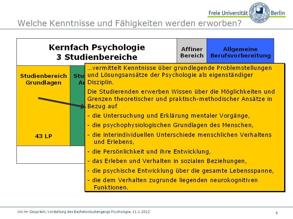 10 Uni im Gespräch, Vorstellung des Bachelorstudiengangs Psychologie, 11.1.2012 Welche Kenntnisse und Fähigkeiten werden erworben?