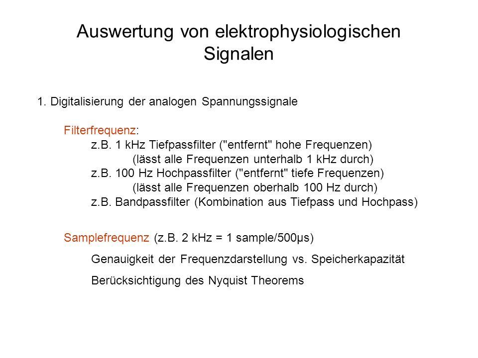 1.Digitalisierung der analogen Spannungssignale Filterfrequenz: z.B.