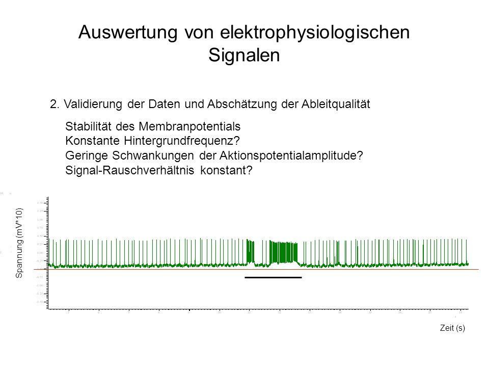 Auswertung von elektrophysiologischen Signalen 2. Validierung der Daten und Abschätzung der Ableitqualität Stabilität des Membranpotentials Konstante
