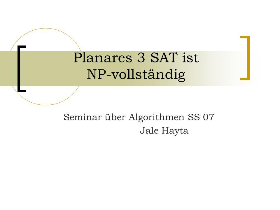Planares 3 SAT ist NP-vollständig Seminar über Algorithmen SS 07 Jale Hayta