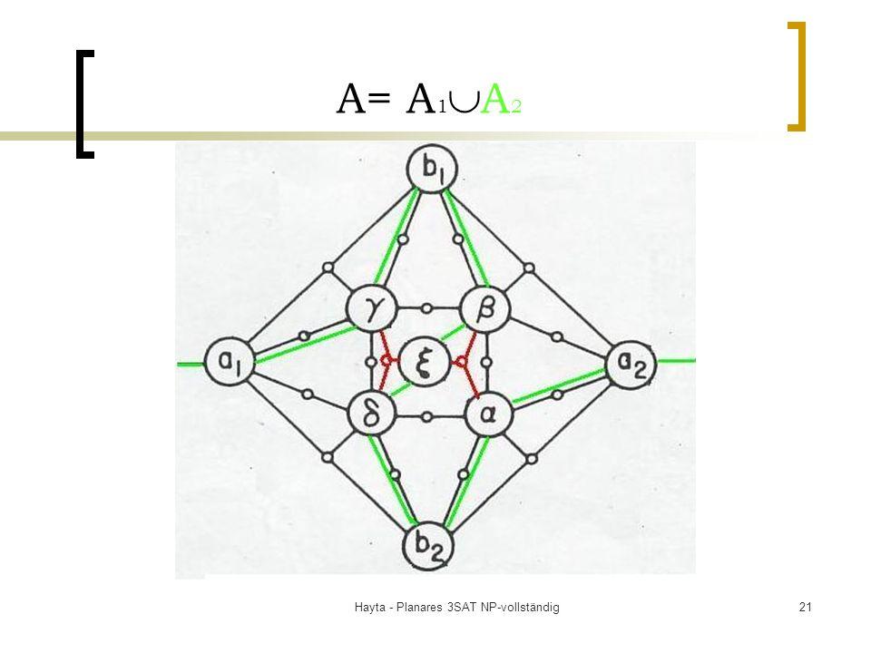 Hayta - Planares 3SAT NP-vollständig21 A= A 1 A 2