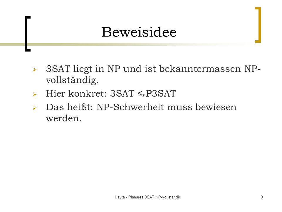 Hayta - Planares 3SAT NP-vollständig3 Beweisidee 3SAT liegt in NP und ist bekanntermassen NP- vollständig. Hier konkret: 3SAT P P3SAT Das heißt: NP-Sc