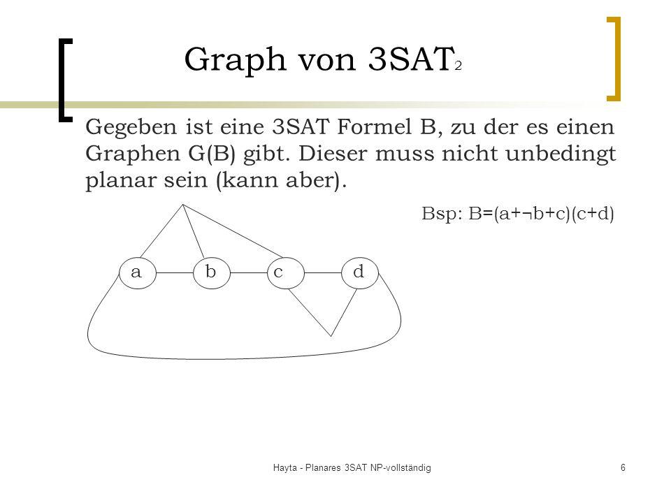 Hayta - Planares 3SAT NP-vollständig6 Graph von 3SAT 2 Gegeben ist eine 3SAT Formel B, zu der es einen Graphen G(B) gibt. Dieser muss nicht unbedingt