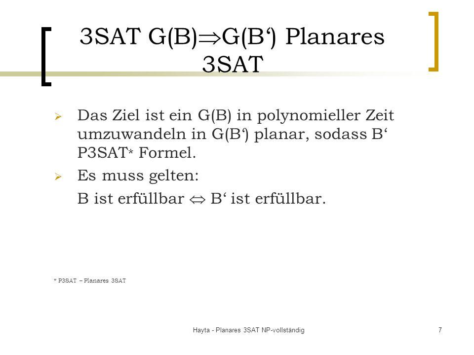 Hayta - Planares 3SAT NP-vollständig7 3SAT G(B) G(B) Planares 3SAT Das Ziel ist ein G(B) in polynomieller Zeit umzuwandeln in G(B) planar, sodass B P3