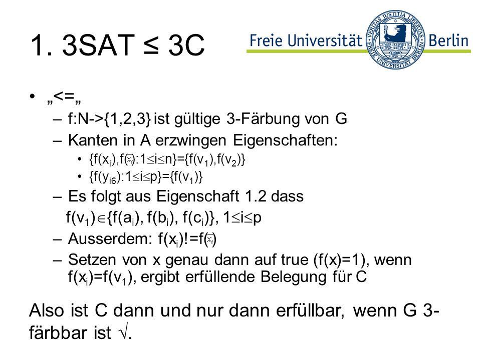 1. 3SAT 3C <= –f:N->{1,2,3} ist gültige 3-Färbung von G –Kanten in A erzwingen Eigenschaften: {f(x i ),f( ):1 i n}={f(v 1 ),f(v 2 )} {f(y i6 ):1 i p}=