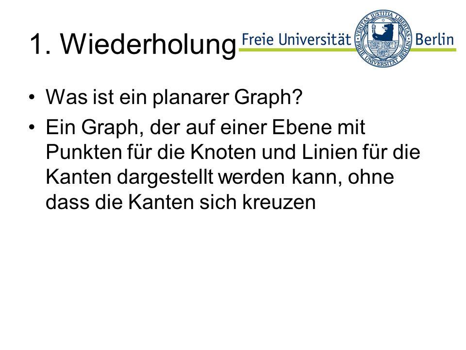 1. Wiederholung Was ist ein planarer Graph? Ein Graph, der auf einer Ebene mit Punkten für die Knoten und Linien für die Kanten dargestellt werden kan