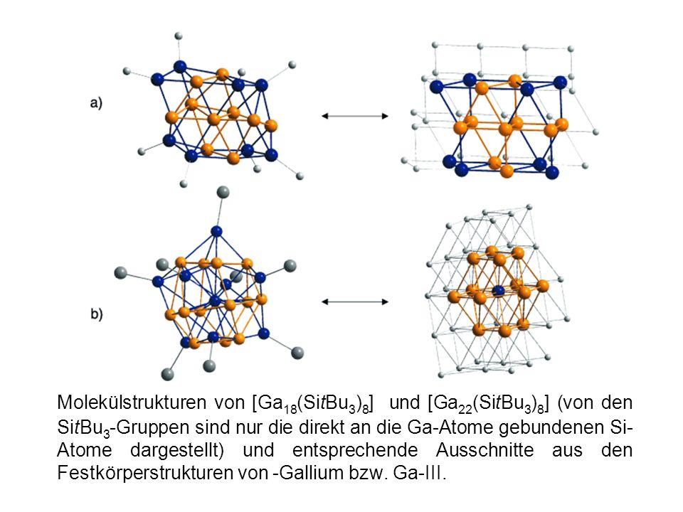 Molekülstrukturen von [Ga 18 (SitBu 3 ) 8 ] und [Ga 22 (SitBu 3 ) 8 ] (von den SitBu 3 -Gruppen sind nur die direkt an die Ga-Atome gebundenen Si- Ato