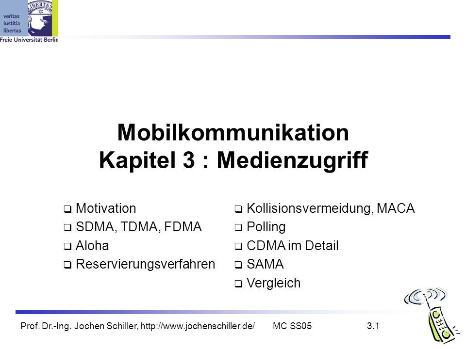 Prof. Dr.-Ing. Jochen Schiller, http://www.jochenschiller.de/MC SS053.1 Mobilkommunikation Kapitel 3 : Medienzugriff Motivation SDMA, TDMA, FDMA Aloha