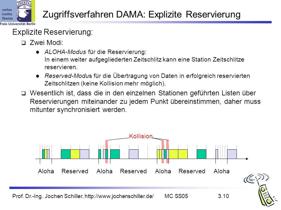 Prof. Dr.-Ing. Jochen Schiller, http://www.jochenschiller.de/MC SS053.10 Zugriffsverfahren DAMA: Explizite Reservierung Explizite Reservierung: Zwei M