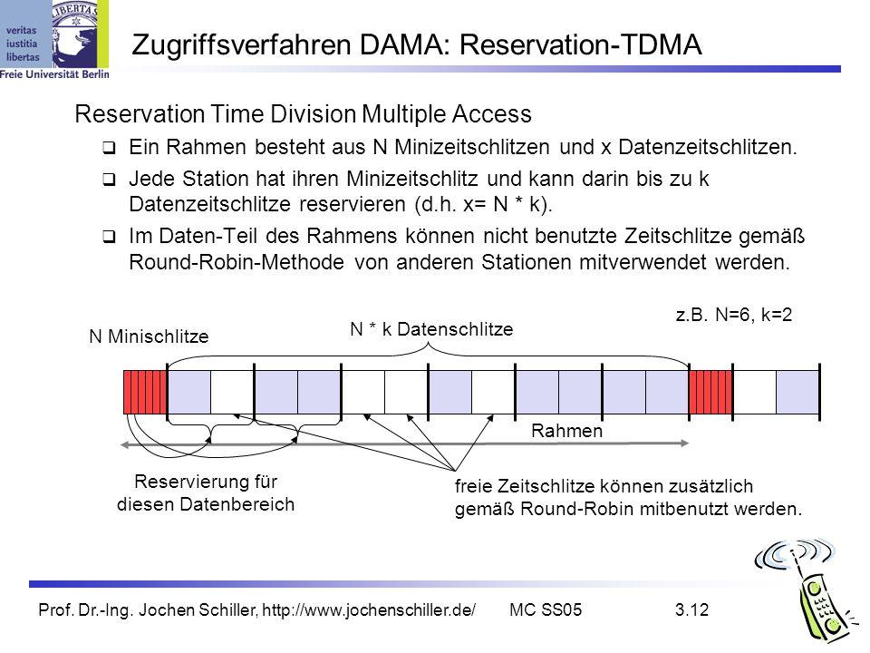 Prof. Dr.-Ing. Jochen Schiller, http://www.jochenschiller.de/MC SS053.12 Zugriffsverfahren DAMA: Reservation-TDMA Reservation Time Division Multiple A