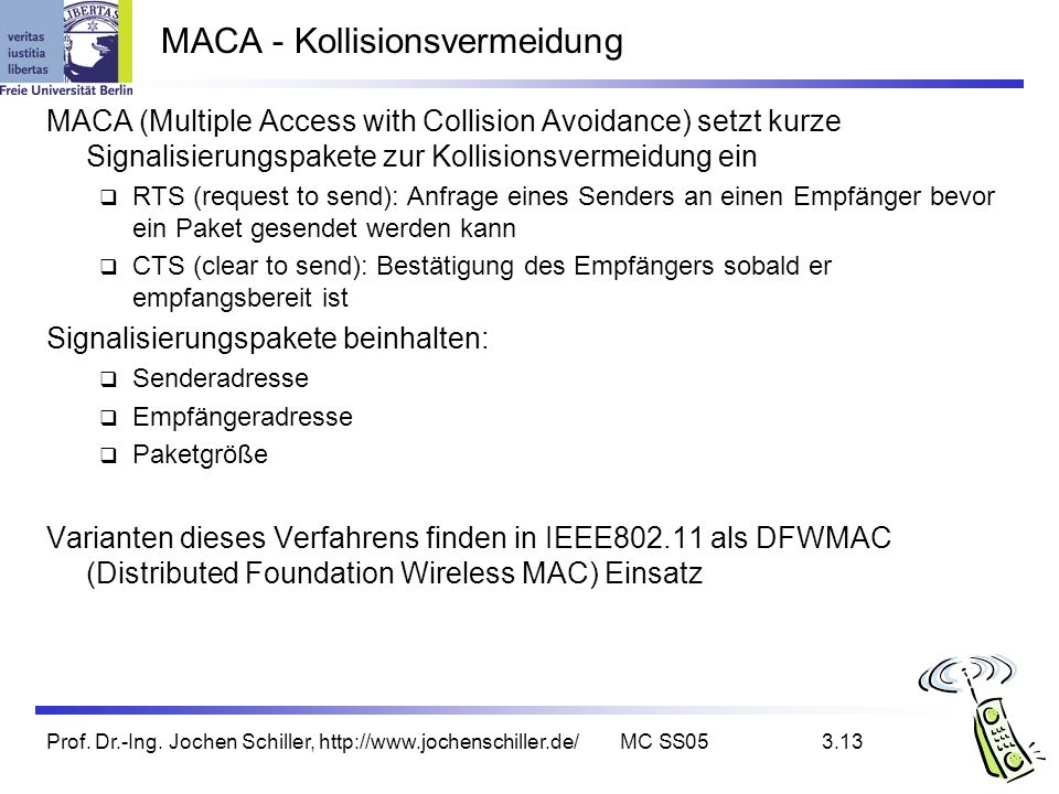 Prof. Dr.-Ing. Jochen Schiller, http://www.jochenschiller.de/MC SS053.13 MACA - Kollisionsvermeidung MACA (Multiple Access with Collision Avoidance) s