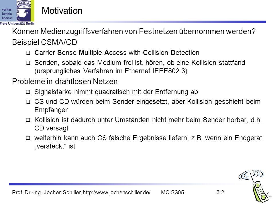 Prof. Dr.-Ing. Jochen Schiller, http://www.jochenschiller.de/MC SS053.2 Motivation Können Medienzugriffsverfahren von Festnetzen übernommen werden? Be