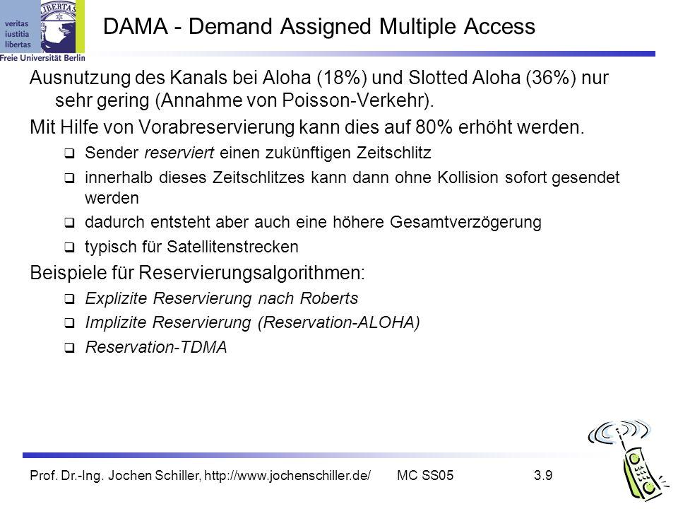 Prof. Dr.-Ing. Jochen Schiller, http://www.jochenschiller.de/MC SS053.9 DAMA - Demand Assigned Multiple Access Ausnutzung des Kanals bei Aloha (18%) u