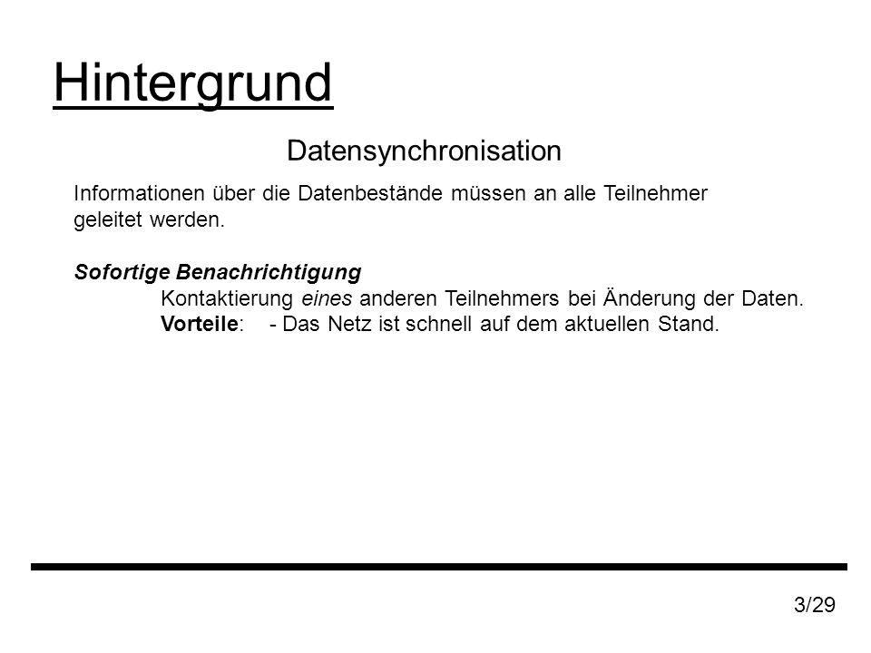 Datensynchronisation Hintergrund 3/29 Informationen über die Datenbestände müssen an alle Teilnehmer geleitet werden.