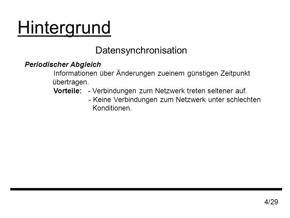 Datensynchronisation Hintergrund 4/29 Periodischer Abgleich Informationen über Änderungen zueinem günstigen Zeitpunkt übertragen.