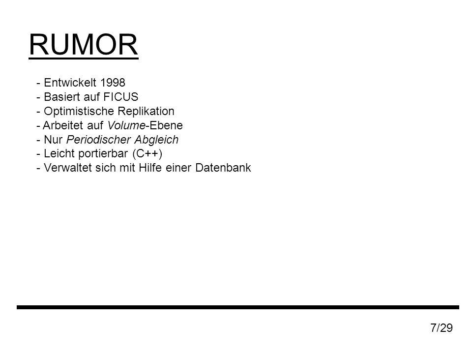 RUMOR 7/29 - Entwickelt 1998 - Basiert auf FICUS - Optimistische Replikation - Arbeitet auf Volume-Ebene - Nur Periodischer Abgleich - Leicht portierbar (C++) - Verwaltet sich mit Hilfe einer Datenbank