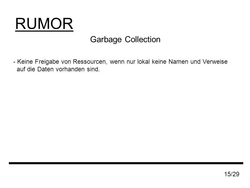 RUMOR Garbage Collection - Keine Freigabe von Ressourcen, wenn nur lokal keine Namen und Verweise auf die Daten vorhanden sind.
