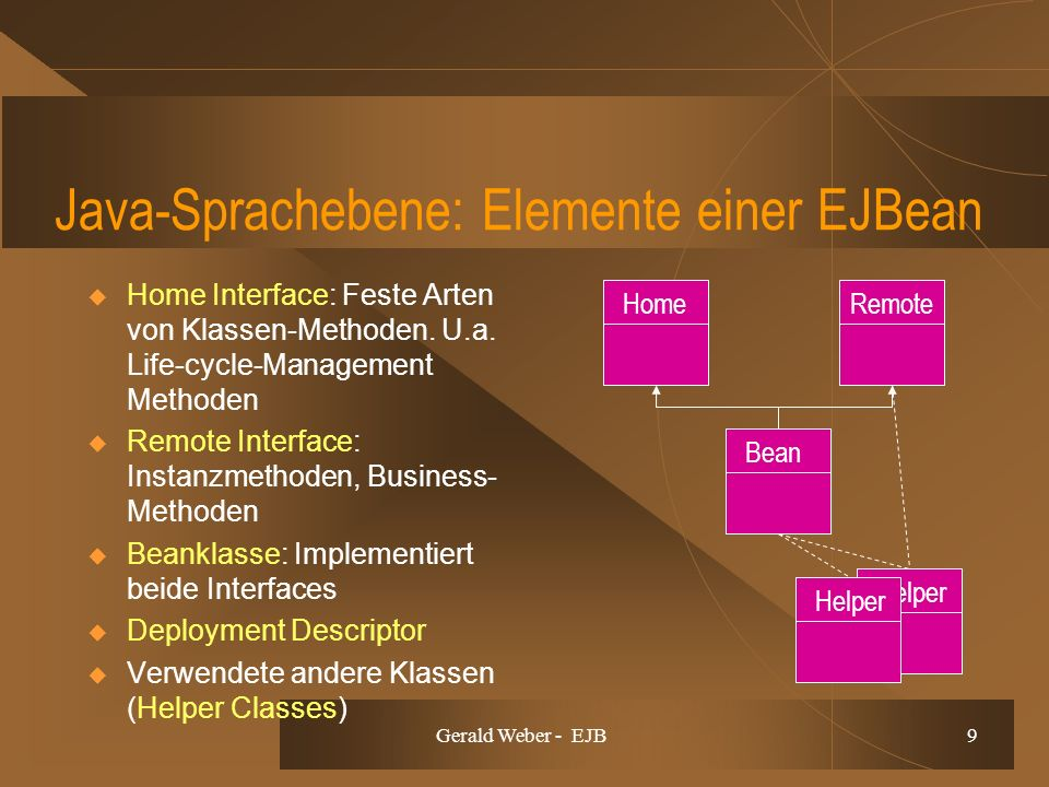 Gerald Weber - EJB 9 Java-Sprachebene: Elemente einer EJBean Home Interface: Feste Arten von Klassen-Methoden. U.a. Life-cycle-Management Methoden Rem