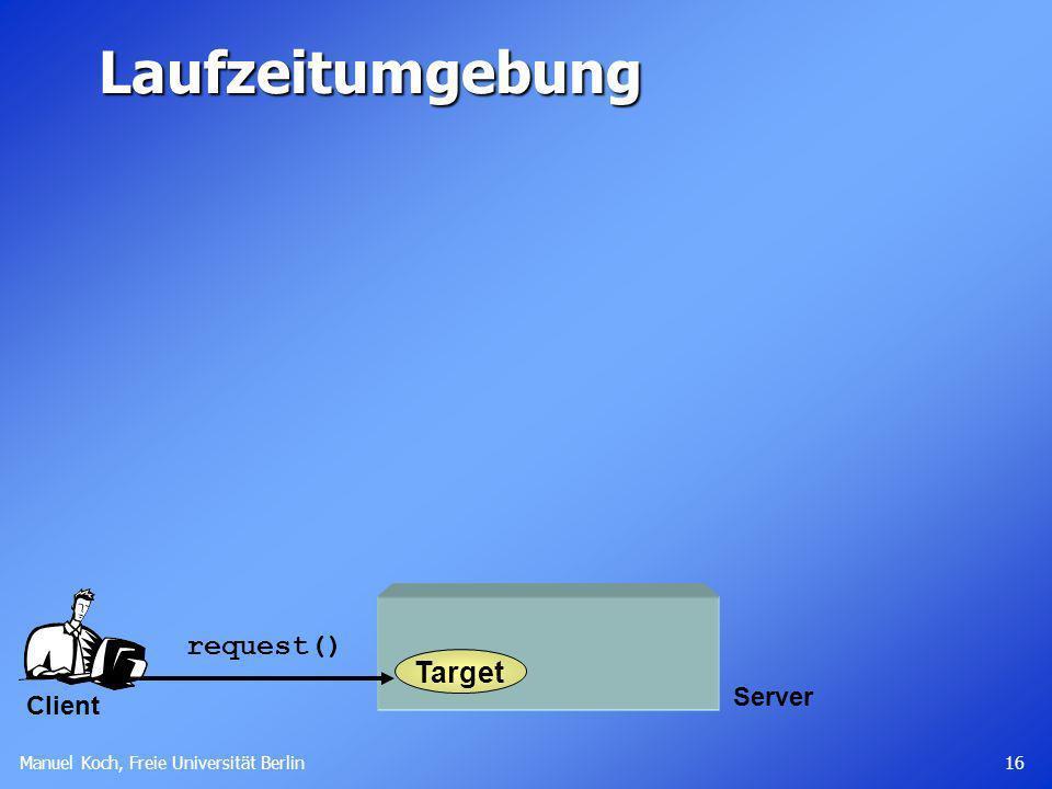 Manuel Koch, Freie Universität Berlin 16 Server Laufzeitumgebung Target request() Client