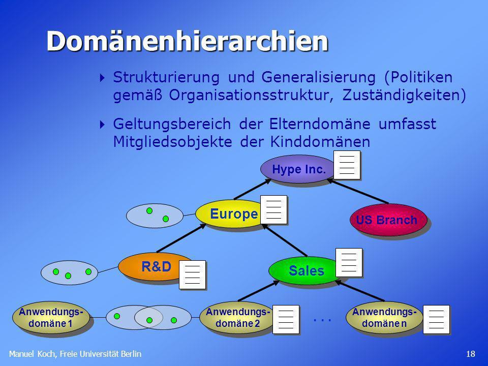 Manuel Koch, Freie Universität Berlin 18 Anwendungs- domäne 1 Anwendungs- domäne 1Domänenhierarchien Strukturierung und Generalisierung (Politiken gemäß Organisationsstruktur, Zuständigkeiten) Geltungsbereich der Elterndomäne umfasst Mitgliedsobjekte der Kinddomänen US Branch Europe Hype Inc.