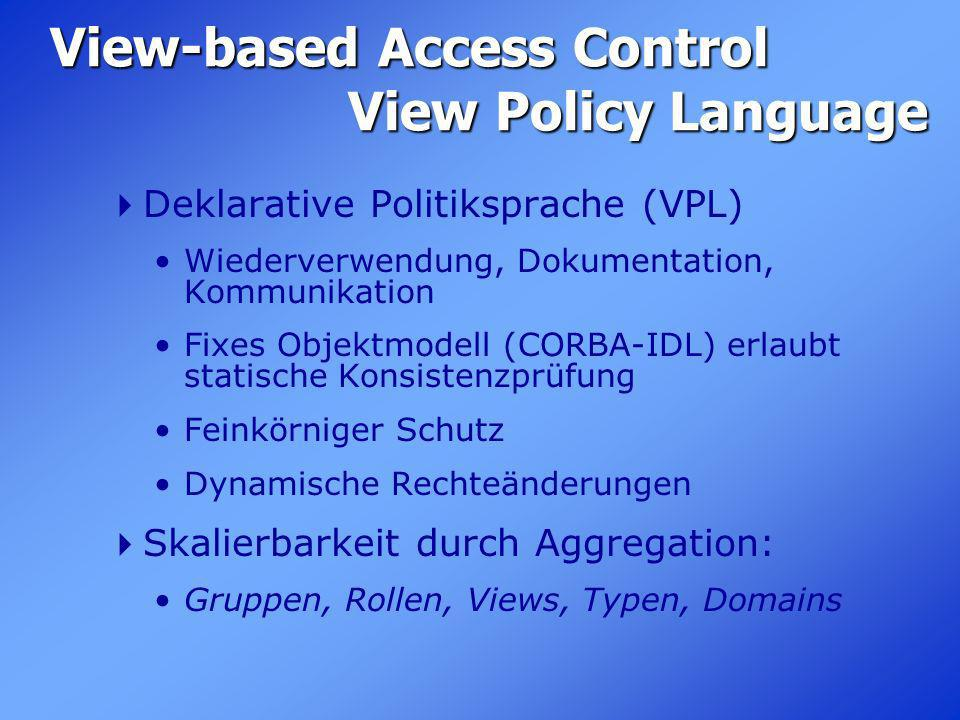 View-based Access Control View Policy Language Deklarative Politiksprache (VPL) Wiederverwendung, Dokumentation, Kommunikation Fixes Objektmodell (COR