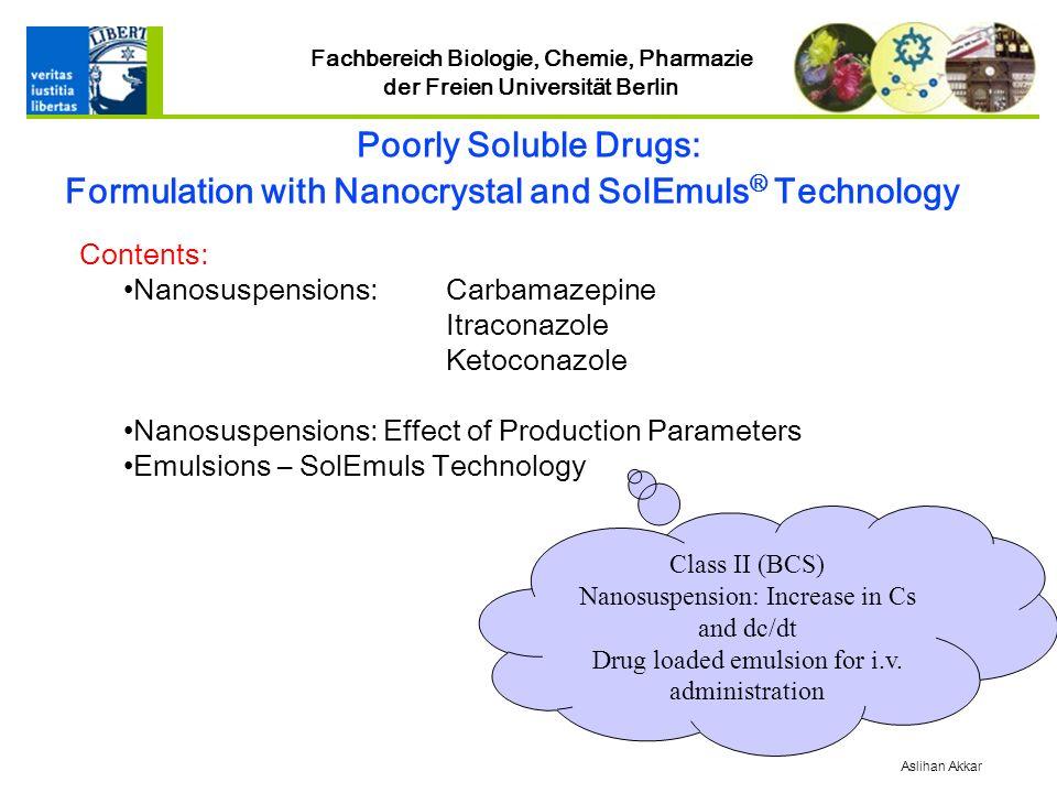 Fachbereich Biologie, Chemie, Pharmazie der Freien Universität Berlin Class II (BCS) Nanosuspension: Increase in Cs and dc/dt Drug loaded emulsion for i.v.