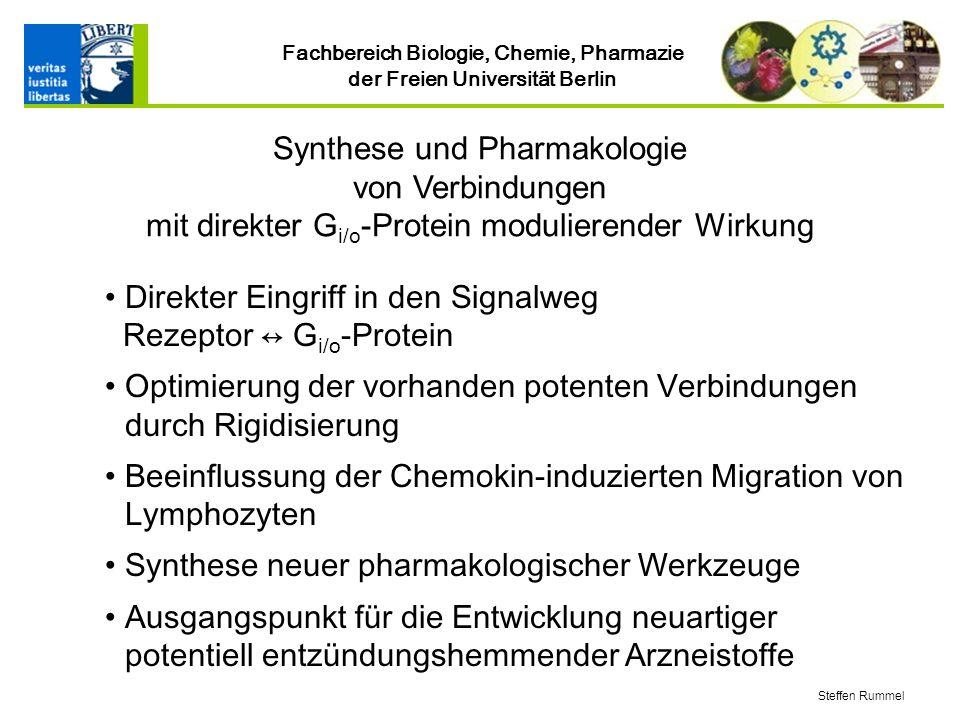 Fachbereich Biologie, Chemie, Pharmazie der Freien Universität Berlin Direkter Eingriff in den Signalweg Rezeptor G i/o -Protein Optimierung der vorhanden potenten Verbindungen durch Rigidisierung Beeinflussung der Chemokin-induzierten Migration von Lymphozyten Synthese neuer pharmakologischer Werkzeuge Ausgangspunkt für die Entwicklung neuartiger potentiell entzündungshemmender Arzneistoffe Synthese und Pharmakologie von Verbindungen mit direkter G i/o -Protein modulierender Wirkung Steffen Rummel