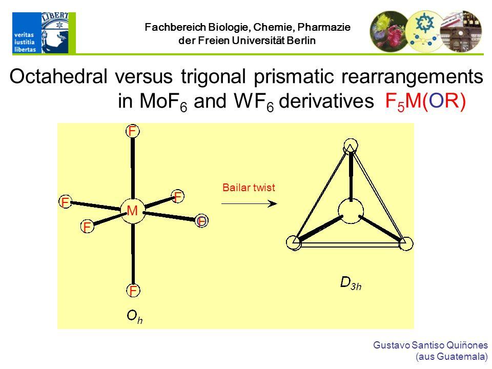 Fachbereich Biologie, Chemie, Pharmazie der Freien Universität Berlin Gustavo Santiso Quiñones (aus Guatemala) Octahedral versus trigonal prismatic rearrangements in MoF 6 and WF 6 derivatives Bailar twist F 5 M(OR) F F F F F F M O