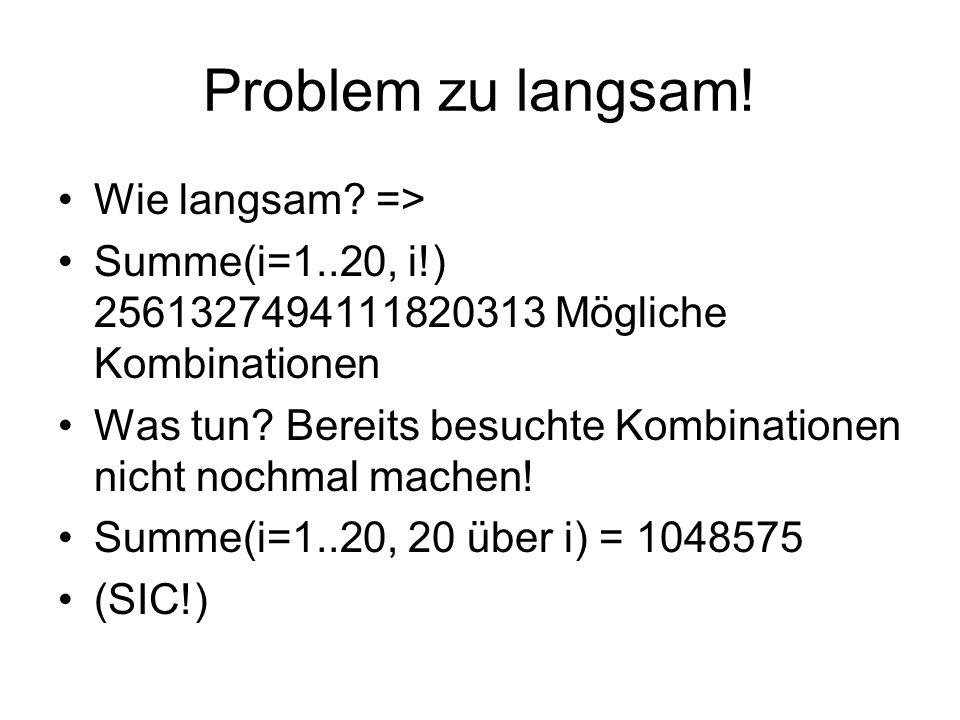 Problem zu langsam! Wie langsam? => Summe(i=1..20, i!) 2561327494111820313 Mögliche Kombinationen Was tun? Bereits besuchte Kombinationen nicht nochma